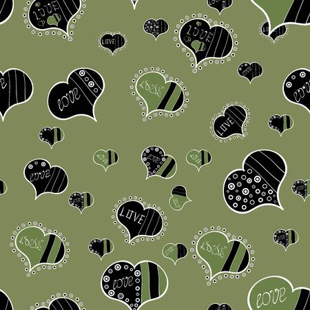 Seamless Love pattern. Vector illustration. Background of big and small hearts with swirls in black, brown and green colors. Love background. Illustration