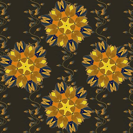 Pattern with spring flowers with branch, on brown, gray and yellow colors with flower silhouette. Vector pattern. Ilustrace