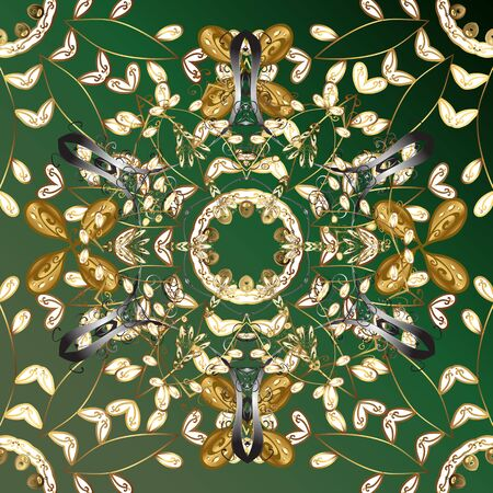 Metal with floral pattern. Green and brown colors with golden elements. Vector golden floral ornament brocade textile pattern. Golden pattern.
