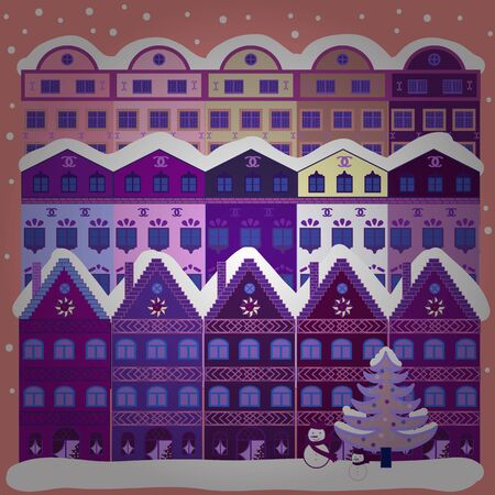 Picture on violet, purple and pink colors. Vector pattern with houses.