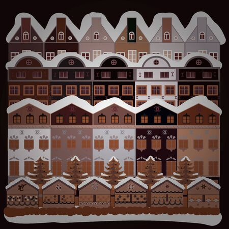 Vector. Perfect for kids fabric, textile, nursery wallpaper. Childish pattern with house and trees. Scandinavian style on brown, white and gray colors. Nordic nature landscape concept.