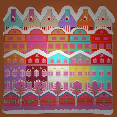 Hand drawn vector abstract scandinavian graphic illustration with house, trees on white, orange and pink colors. Perfect for textile, nursery wallpaper, kids fabric. Nordic nature landscape concept.