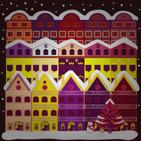 Vector illustration. Winter houses for Christmas and Christmas fabrics packaging paper and decor on brown, white and purple colors. Stok Fotoğraf - 133132357