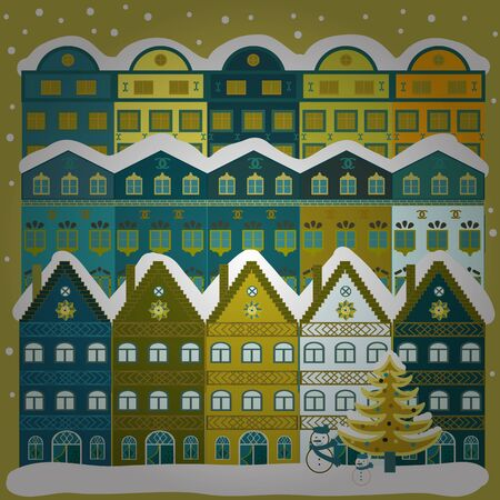 Lonely house on a hill. Cloudy winter landscape. Christmas illustration on neutral, green and blue colors. Mountain landscape. Winter. Vector. Ilustrace