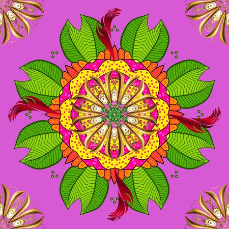 Yellow, green and violet round texture in Vector illustration. Floral ornament seamless pattern.