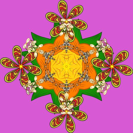 Magic vintage template. Arabic, indian, turkish and ottoman culture decoration style. Hand drawn vector colored Mandala seamless pattern. Ethnic ornament on yellow, violet and orange colors.