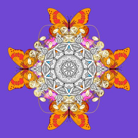 Vector abstract stylized colored mandala. Intricate colored Arabesque with on a violet, yellow and white colors. Ilustrace