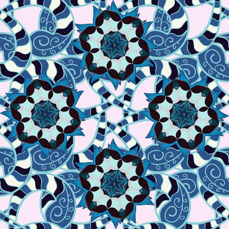 Seamless flower pattern can be used for wallpaper. Flowers on gray, blue and neutral colors. Vector illustration. Ilustrace