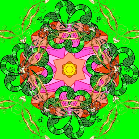 Vector hand-drawn mandala, colored abstract pattern on a green, orange and pink colors.