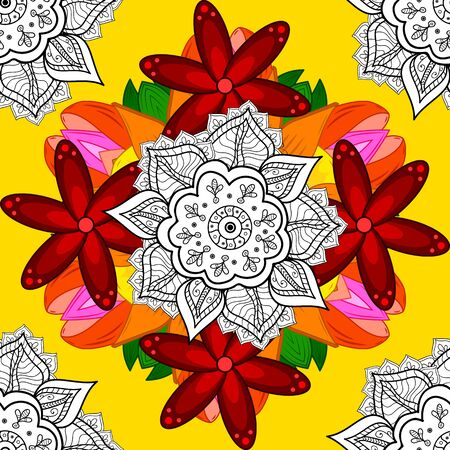 Vector nature seamless pattern with abstract ornament. Ornamental doodle white, red and yellow colors. Vector round mandala in childish style.