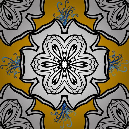 Vector circular abstract mandalas pattern. Round ornament with intertwined branches, flowers and curls. Colored Mandala on a white and black baqckground. Arabesque.