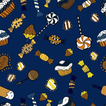 Colorful sugar sprinkle, candy or bakery design on a white, blue and black background. Bright seamless vector confetti party pattern.