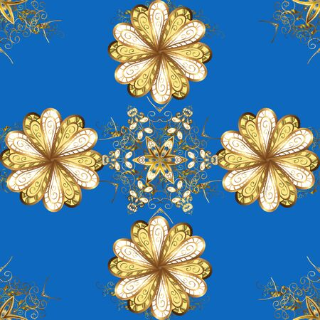 Vector illustration. Royal retro on blue and brown colors. Gold template. Floral classic texture. Design vintage for card, wallpaper, wrapping, textile. Seamless pattern golden elements.