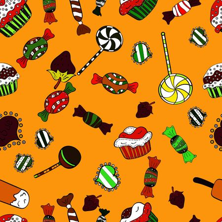 Cute cartoon colorful seamless vector pattern with candies and cotton candy. Vector. Candies on black, yellow and white colors. 向量圖像
