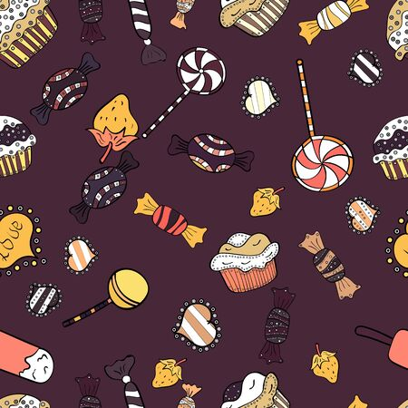 Candies on seamless background. Watercolor illustration on brown, white and black colors. Vector. Stock Illustratie