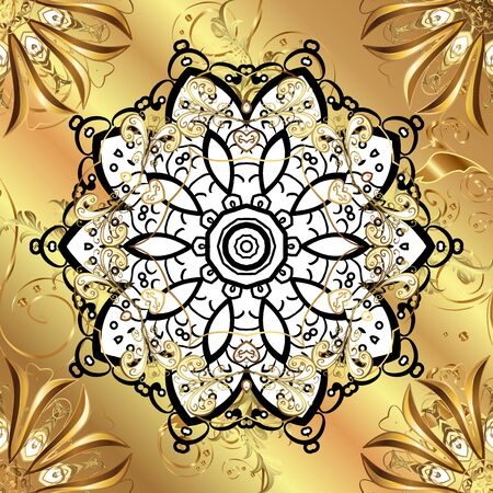 Vector abstract background with repeating elements. Vector illustration. Seamless damask classic golden pattern. Golden seamless pattern on beige and yellow colors with golden elements. Illusztráció