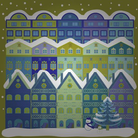 Vector illustration. Illustration on yellow and blue colors. Vector cartoon drawing of Christmas suburban houses with making a snowman.