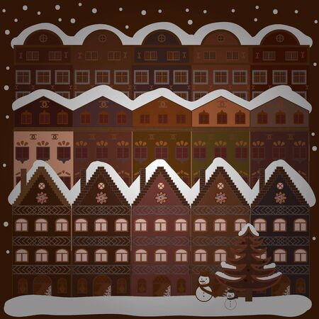 Picture on white and brown colors. Vector pattern with houses.