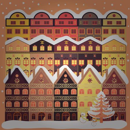 Unusual christmas illustration postcard. Amazing Decorated house decorated at christmas of christmas orange and white colors in magical forest and hills. Vector.