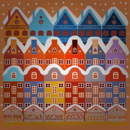 Vector illustration. Pattern houses. Illustration on white and orange colors. 일러스트