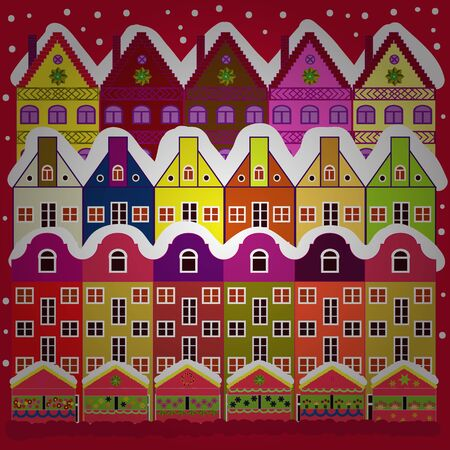 Nice buildings on white and red colors. Vector illustration. Doodle houses vector background. 일러스트