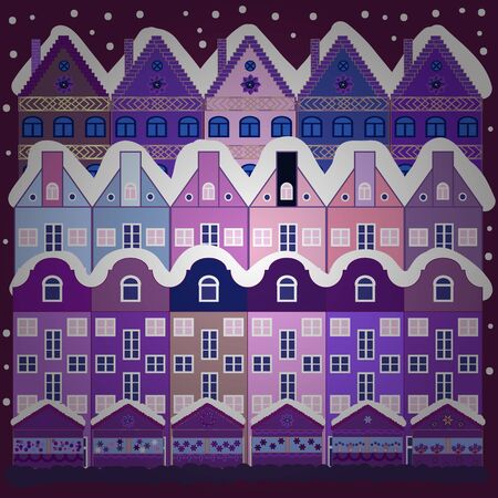 Buildings on purple and violet colors. Vector illustration. Colorful bright houses with trees on the hills.