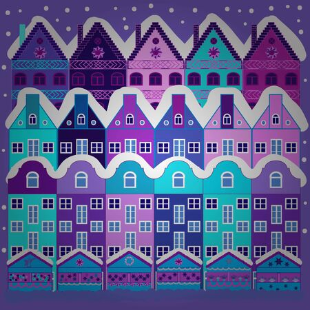 Vector illustration. Colorful bright houses with trees on the hills. Buildings on violet and blue colors.