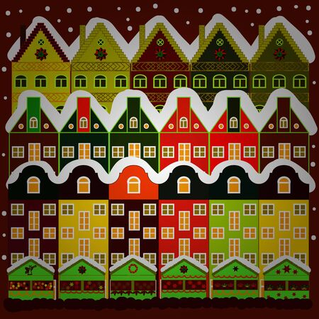 Buildings and facades. Vector illustration. Classic European houses landscape with Christmas holiday decorations. Vector illustration. Snowfall on Christmas eve. Winter day in cosy town street scene. Illustration