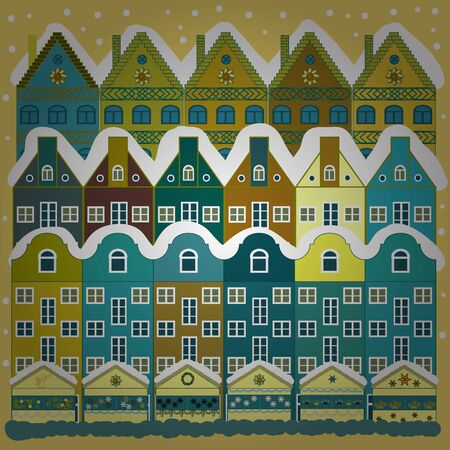 Picture on yellow and blue colors. Vector pattern with houses. 일러스트