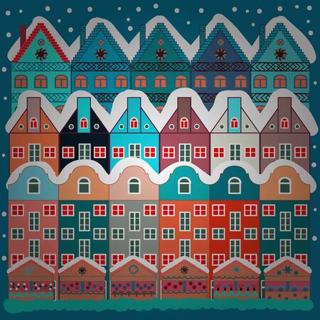 Vector pattern with houses. Picture on white and blue colors.