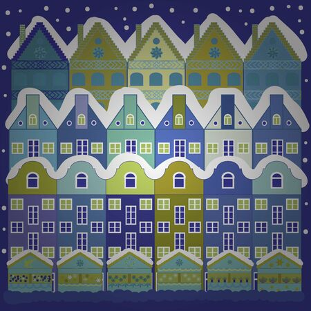 Holidays Vector illustration. Winter city with trees, cute houses. Landscape with nature and houses. Vector illustration. Over a blue and violet background. Nature landscape. Winter is coming. 일러스트