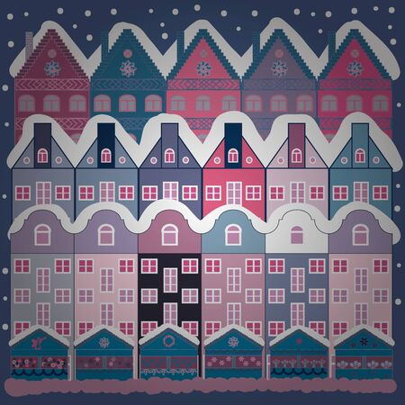 Vector illustration. Evening village winter landscape with snow cove blue and neutral houses. Christmas winter scene. Background.