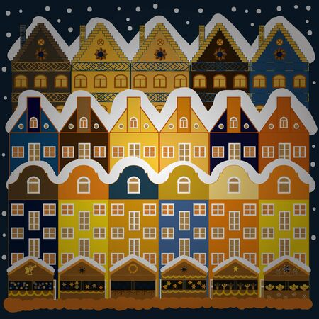 Winter nature landscape. Winter houses, road, tree. Vector. Winter in the city, christmas decor fir-trees. New year holidays. Vector. Cityscape. Cute town Christmas eve. Greeting card, poster design.
