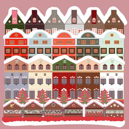 Illustration on neutral, gray and white colors. Vector illustration. Vector cartoon drawing of Christmas suburban houses with making a snowman.