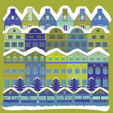 Colorful bright houses with trees on the hills. Vector illustration. Buildings on white, blue and yellow colors.