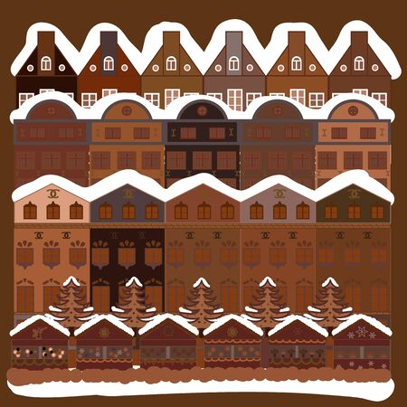 Scandinavian style nature illustration. Colorfil landscape for textile, wallpaper, fabric. Vector. Cute houses and trees on white, beige and brown colors background. Vectores