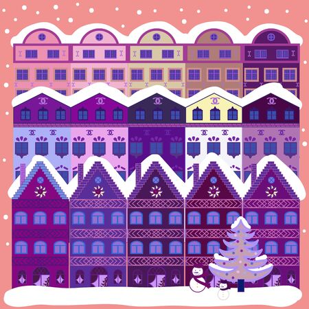 Illustration on pink, purple and violet colors. Vector illustration. Vector cartoon drawing of Christmas suburban houses with making a snowman.