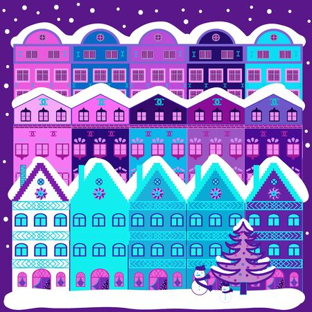 Vector illustration. Of a country house in a flat style. Elementson a blue, white and violet colors background.