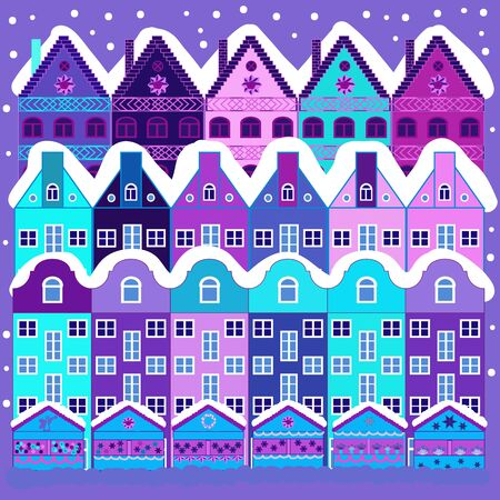 Perfect for kids fabric, textile, nursery sketch. Colorful pattern with houses, trees and mountains. Cute nature landscape concept on blue and violet colors.