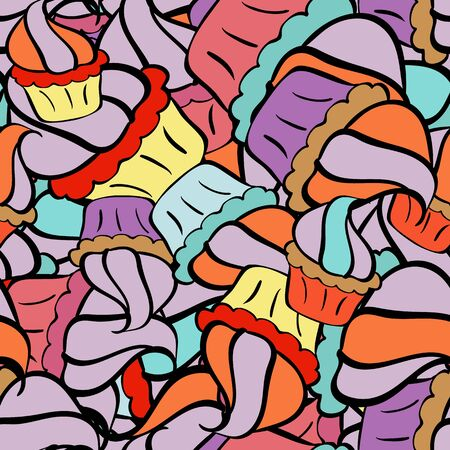 Seamless Flat design with abstract doodles on orange, black and neutral colors background. Vector illustration. Colorful pattern. Ilustracja