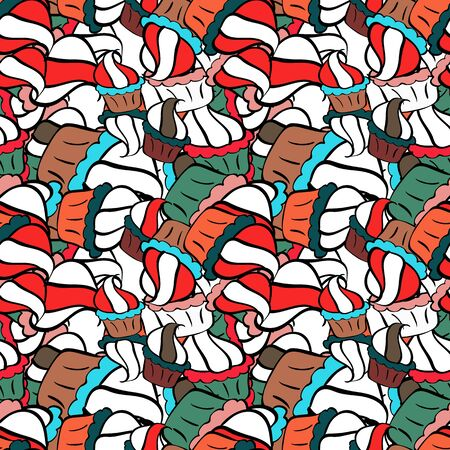 - stock. Nice background. Seamless Cute fabric pattern. Vector illustration. Abstract doodles pattern. Red, black and white on colors. Reklamní fotografie - 134863748