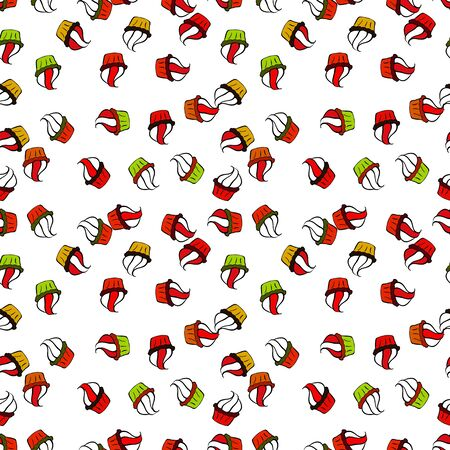 For food poster design on black, white and red. Wrapping paper. Seamless with cupcake. Vector illustration. Illustration