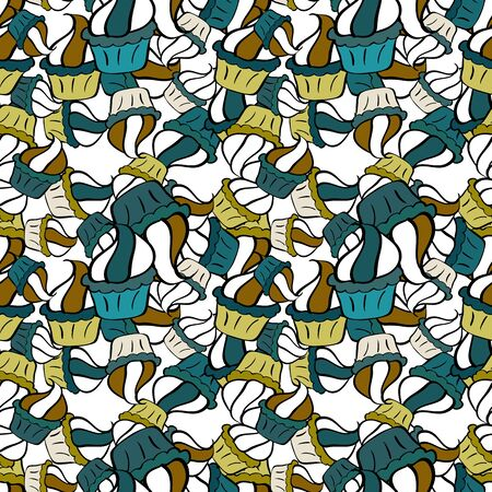 Nice birthday background on black, white and blue. Wrapping paper. Seamless pattern with cakes. Vector illustration.