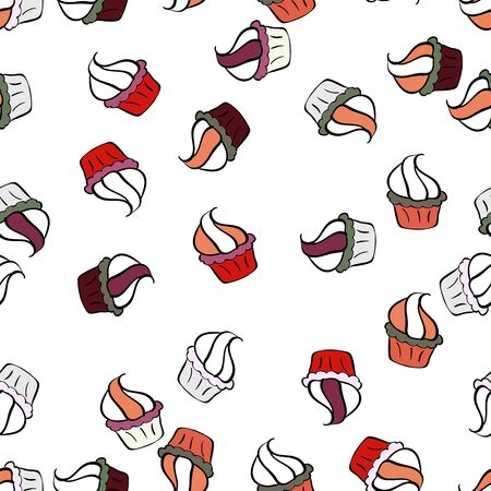 Seamless bright birthday pattern on black, white and orange. Vector illustration. Cake, cap, cone. Wrapping paper.