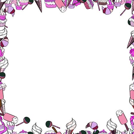 Picture in black, white and pink colors. Vector. Seamless.   frames doodles. 일러스트