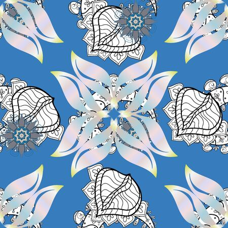 Seamless pattern with colorful paisley, blue, white and neutral flowers and decorative elements. For print on fabric, textiles, sketch. Vintage retro style. Seamless background. Vector illustration.