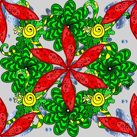 Floral sweet seamless background for textile, fabric, covers, sketchs, print, wrap, scrapbooking, quilting, decoupage. Pretty vintage feedsack pattern in small green, gray and red flowers.