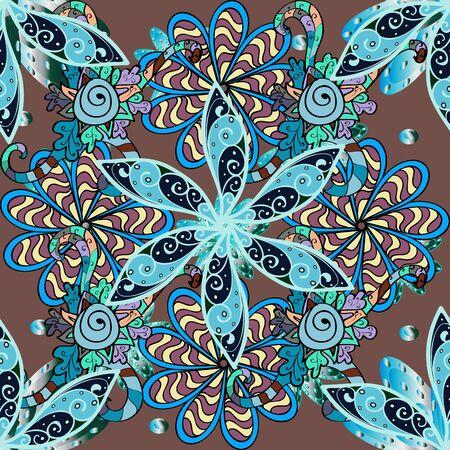 Motif floral sans couture avec des fleurs, aquarelle. Fleurs sur des couleurs bleues, brunes et neutres. Couleur printemps thème transparente motif de fond. Illustration vectorielle de conception d'éléments de fleur plate.