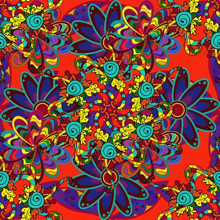 Vector flat flowers seamless pattern. Design gift wrapping paper, greeting cards, posters and banner design. Flowers on yellow, red and blue colors.