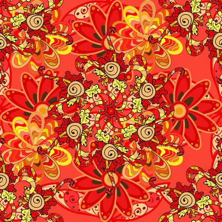 Vector stock. Flowers on red, orange and yellow. Seamless background pattern. Watercolor, hand drawn.